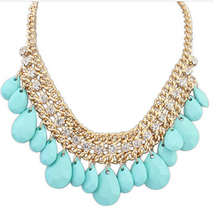 Good quality 4 colors SALE 2014 NEW Cute Elegant Bohemia Crystal Drop Necklace Choker Jewelry For