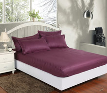 Fitted Sheet 100% satin cotton lilac bed sheet,Single/Twin/full/queen/king fitted sheet bed linen, One piece bed mattress cover(China (Mainland))