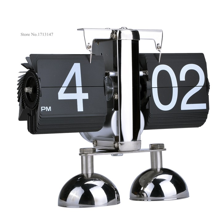 2014 New Modern Digital Auto Black/White Flip Dual Stand Metal Desk Table Alarm Flip Clock Novelty Clock 35(China (Mainland))