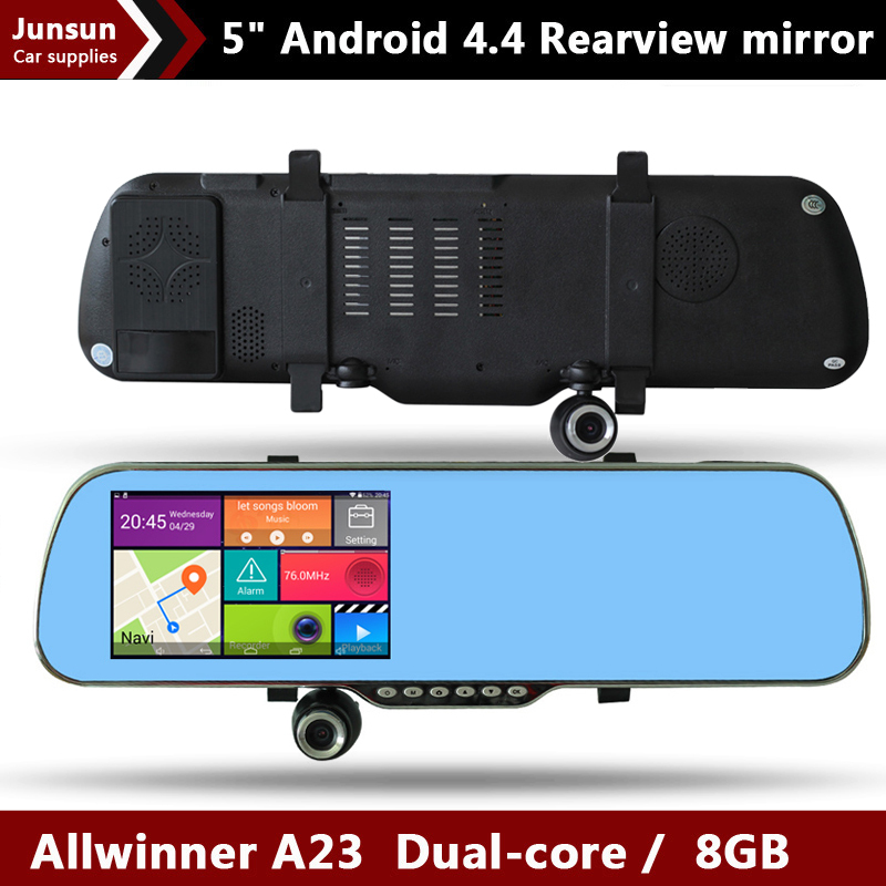 "5.0"" Android 4.4 Car GPS Navigation rearview mirror Car DVRS Dual Camera Rear view Truck vehicle gps Navitel 9.5 or Europe map(China (Mainland))"