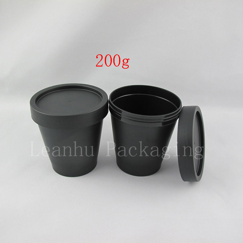 200g x 20 round empty mask cosmetic bottles 7oz cylinder facial cream plastic jars Cosmetics containers black Plastic pot - Packaging E shop store