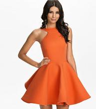 2015 New Ball Gown Halter Sexy Party Dresses Women Summer Style Fashion Ladies Dress Black Orange Blue S-XXL Vestidos de festa(China (Mainland))