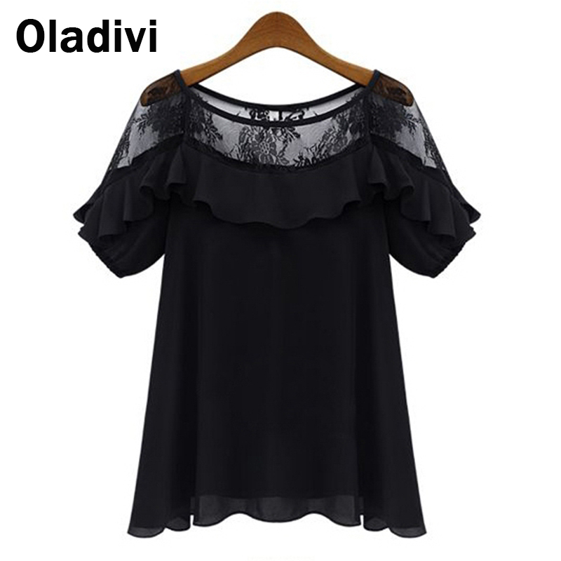 5XL Plus Size Roupas Blusas Femininas 2015 Summer Blouses Shirts Women See Through Short-Sleeve Lace Chiffon Tops Female Clothes(China (Mainland))