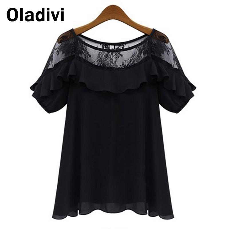 5XL Plus Size Roupas Blusas Femininas 2015 Summer Blouses Shirts Women See Through Short-Sleeve Lace Chiffon Tops Female Clothes(China (Mainland))