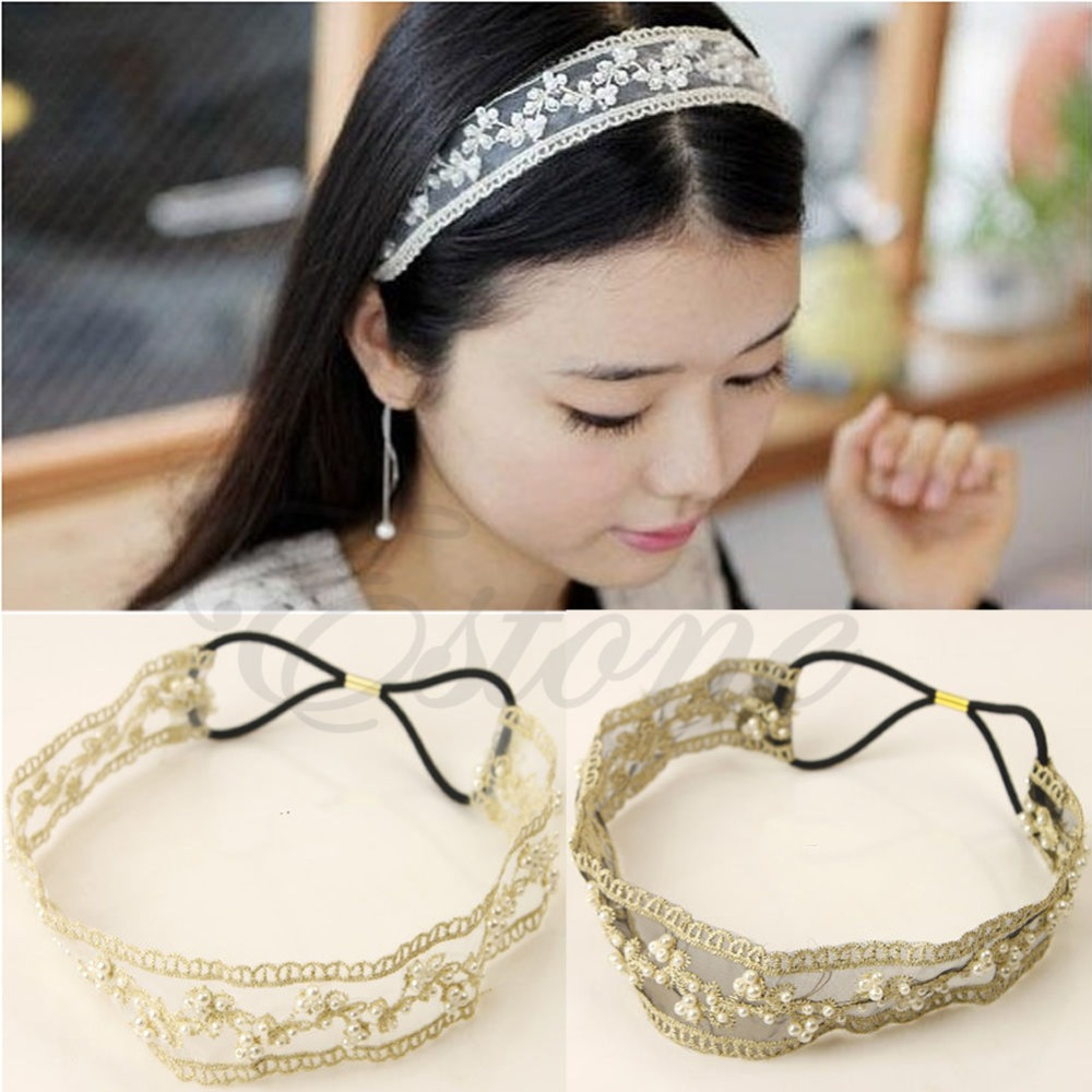 2016 newest Fashion Womens Lace Faux Pearl Beads Headhand Hairband Elastic Hair Head Band-J117(China (Mainland))