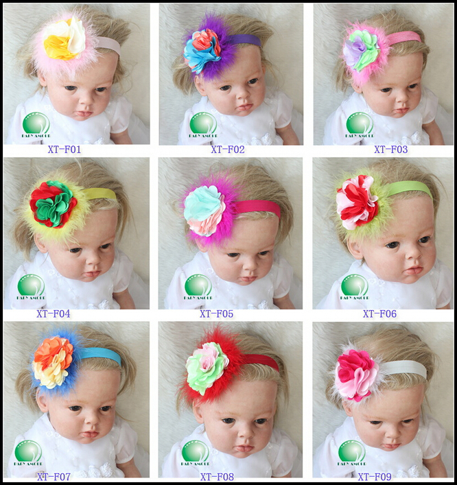 New Arrival Babyamour Hairbands Baby Girls Fabric Rosettes Baroque Headband Assorted Colors Feather Accessories(China (Mainland))