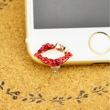 Sex Red Lips With Diamond Luxury Front Anti Dust Plug Diamond ustproof Plug For For iPhone 5,5C,5S,6,6S Mobile Phone Accessories