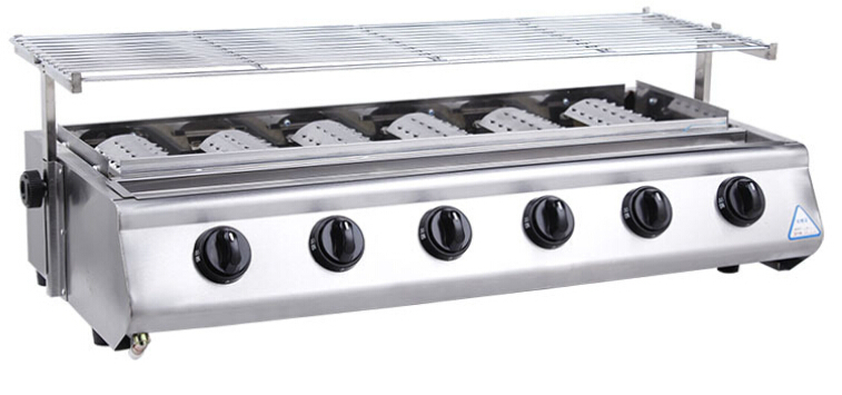 BBQ grill Roster Radiant Charbroiler 6 burners for outdoor stainless steel commercial Gas barbecue grill(China (Mainland))