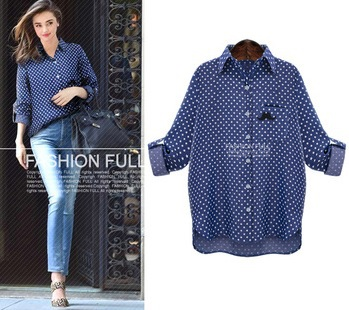 Женские блузки и Рубашки Casual Long leeve dot Big size Blue Shirt Blouses 2015 leeve blusas 84i 21