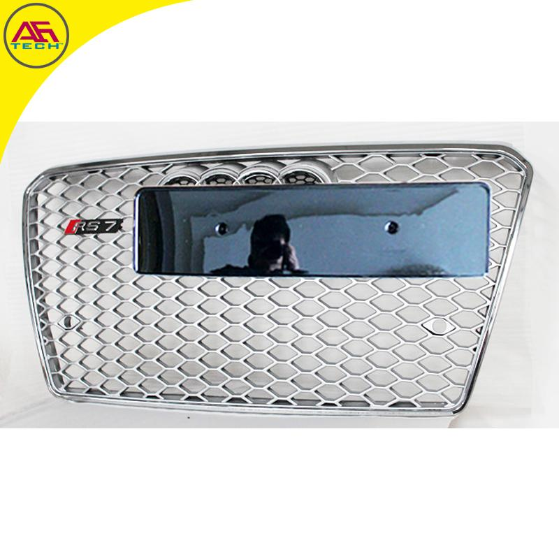 Full Silver+chrome 4 Ring Grille RS7 Mesh Grille Front