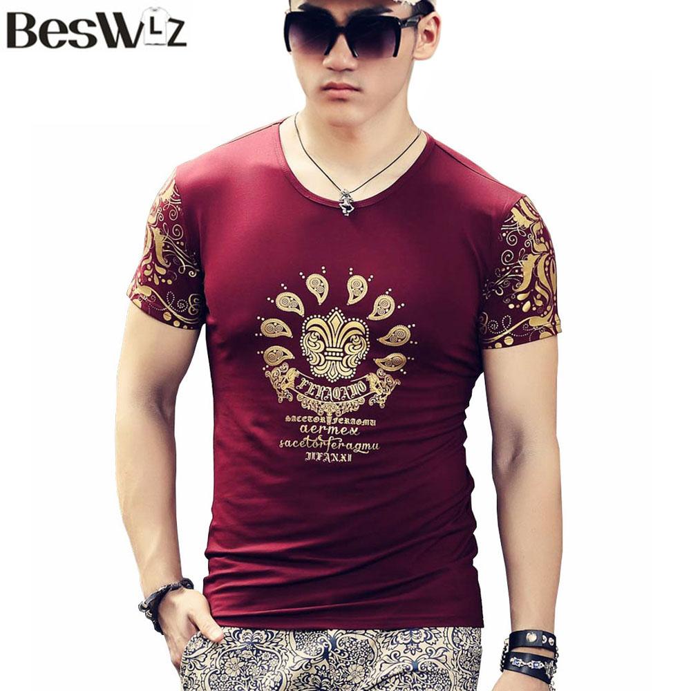 Buy beswlz summer new men t shirt short for Mens short sleeve floral shirt