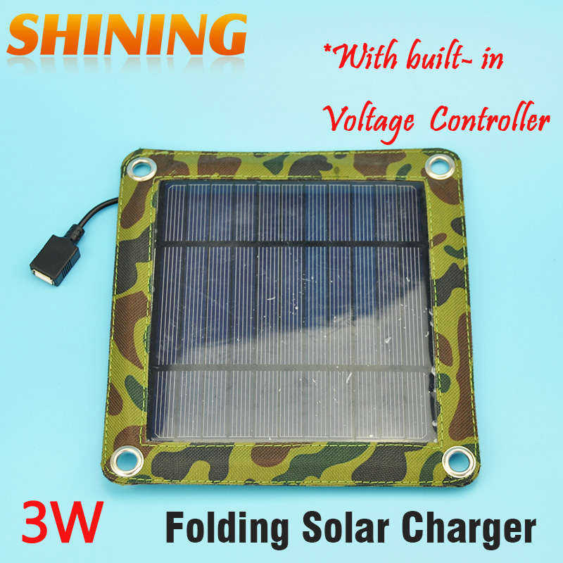 3W Camping Travel Portable Solar Charger Solar Panel Cellphone Mobile Solar Panel Charging Kits Built-in Voltage Controller(China (Mainland))