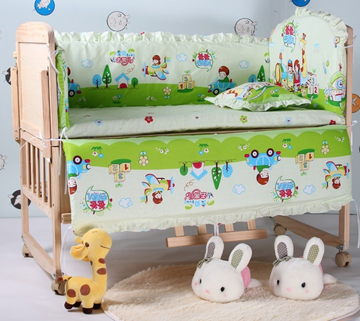 Promotion! 5pcs Baby Bed Set,Both Safety and Healthy Kids Accessory,Crib Sheet (bumpers+matress+pillow) 100*60/110*65cm(China (Mainland))