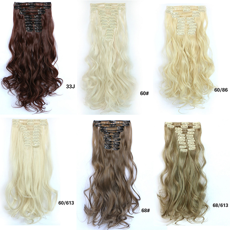 1pcs 55cm Long Fluffy Weave Clips in Hair Extension Heat Resistant Hairpiece Natural Bulk Hair Tress Blonde Black Brown(China (Mainland))