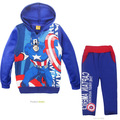 cute causal kids hoodie and pants set plus velvet Captain America clothes set for 2 6yrs