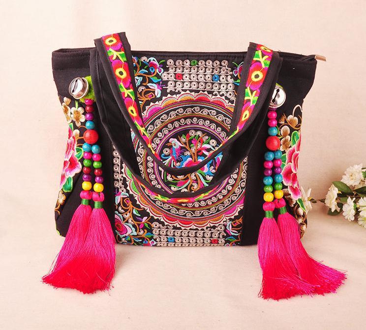 Envío gratis bolsos bordados étnicos mayor personalidad de moda étnica estilo chino bolsa bandolera grande bolsa bolso dama 94026 en Bolsas de hombro de