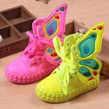 2016 nuovo modo di marca bambini sneakers high-top ali di tela ragazze scarpe per bambini primavera autunno scarpe per il bambino ragazzi(China (Mainland))