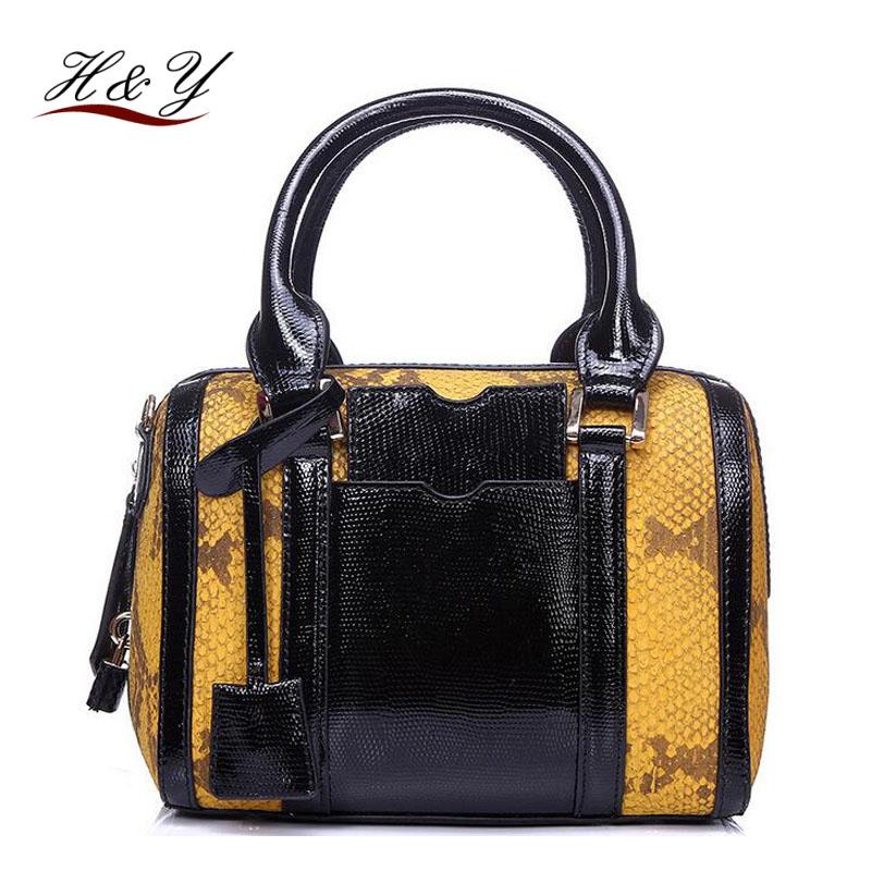 23*18*15CM 2016 New Arrival 100% Genuine Leather Women Handbags Ladies Famous Brand Boston Messenger Bags Medium Size Hot sale(China (Mainland))