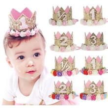 Buy 2017 Flower Crown Newborn Headband Gold Birthday Crown Flower Tiara Headband Kids Party Headwear Hair Bands Accessories Gift for $2.43 in AliExpress store
