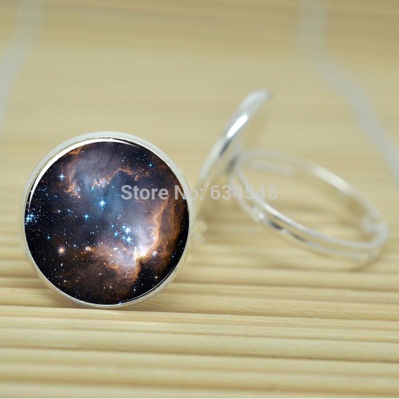10pcs Heavenly Nebula Galaxy Stars And Universe jewelry glass Cabochon Adjustable Rings D0355(China (Mainland))