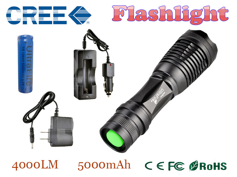 e17 xm-l t6 4000 lumens led flashlight torch adjustable LED Flashlight Torch light flashlight torch rechargeable(China (Mainland))