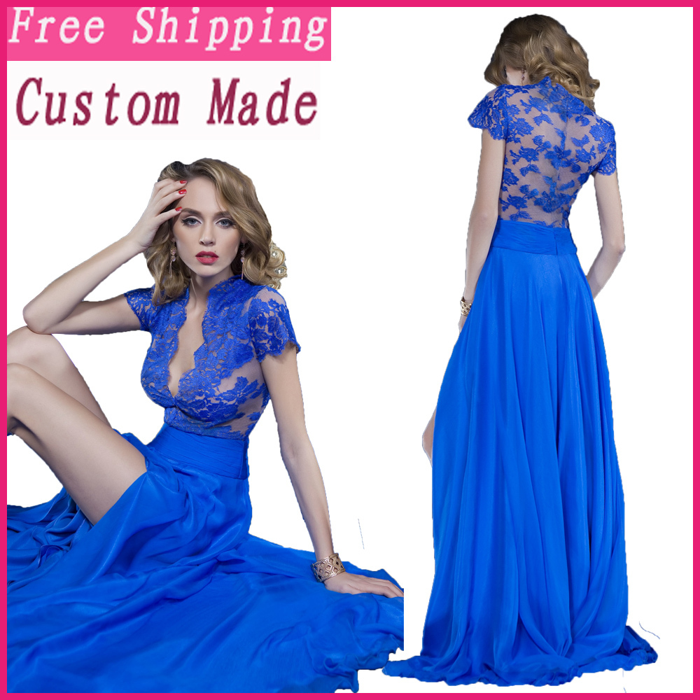 pics for gt blue lace prom dresses 2014