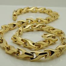24 inch  8mm width  unique gold plating classic design bike chain men  hi-tech  tungsten necklaces & pendants(China (Mainland))