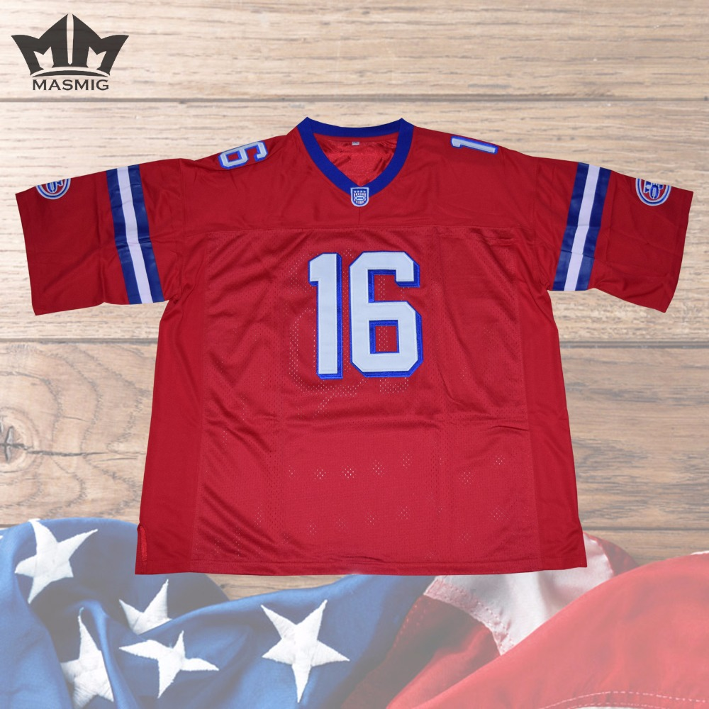 MM MASMIG Shane Falco Washington Sentinels American Football Jersey #16 Movie Stitched Red Includes Patches(China (Mainland))