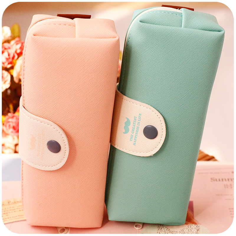 New Cute Kawaii Pure Color Leather Pencil Case School Pencil Bag For Girls Korean Stationery Free Shipping 680(China (Mainland))