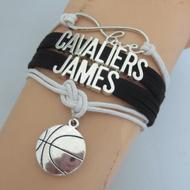 drop shipping charm basketball bracelets infinity love cavaliers bracelet nice basketball team bracelet customise(China (Mainland))
