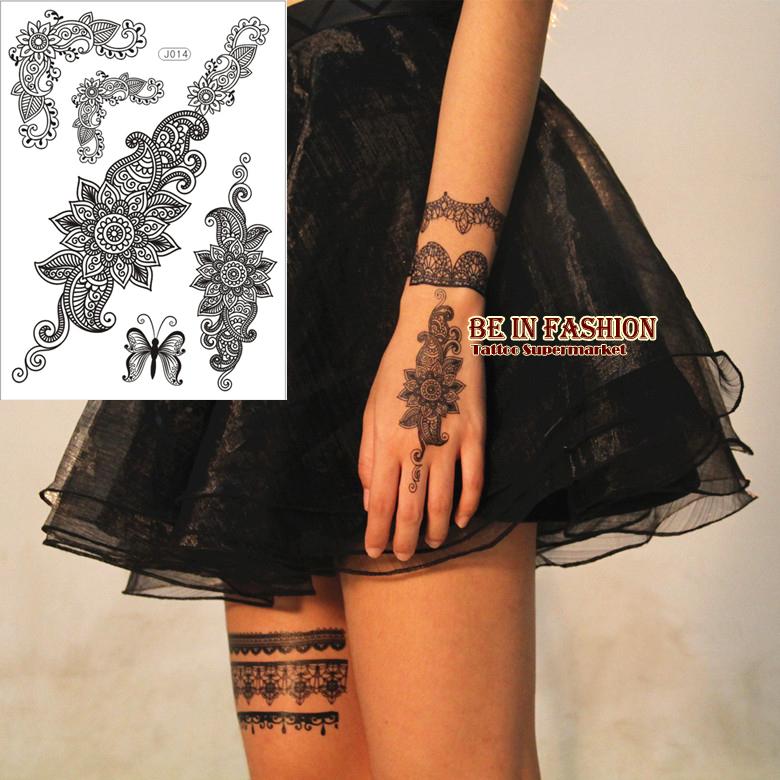 1sheet trendy black temporary arabic tattoo lace henna for White temporary tattoos