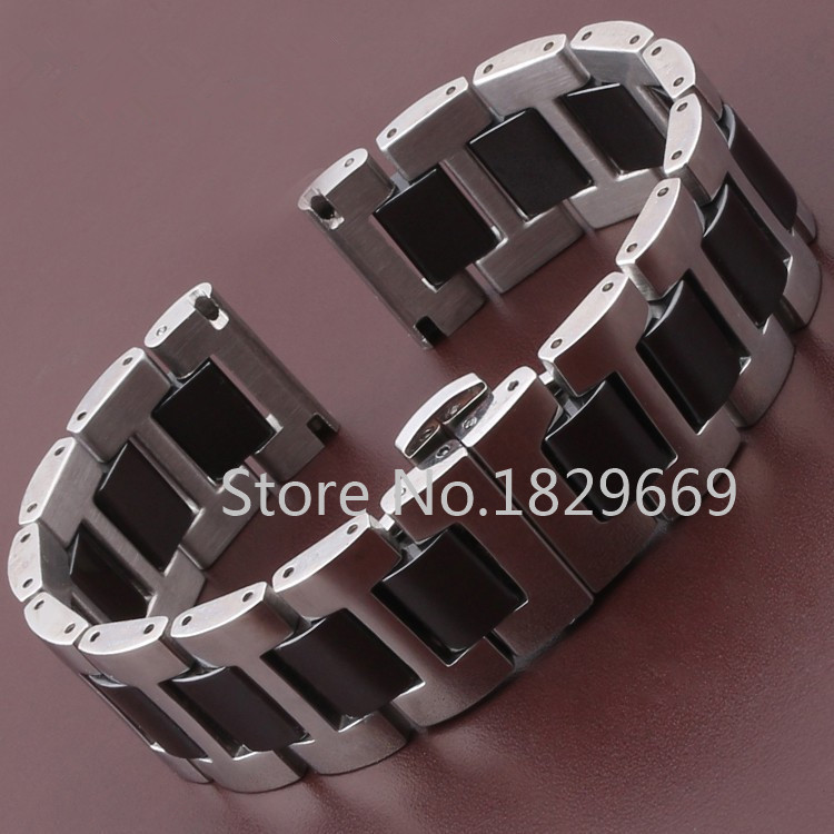 New High Quality Watch Band Black Ceramic Watchband Diamond Watch General 16mm 18mm 20mm Size Available steel wrap ceramic(China (Mainland))