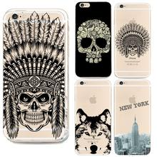 For Iphone6 Case Top Indian Head Skull Phone Cover For Apple Iphone 6 6s Silicone Case Animal Dog Pattern Tpu Soft Cases