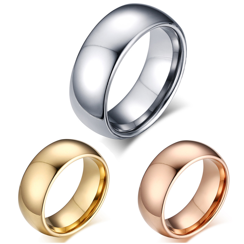 Tungsten Carbide Rose Gold Silver Dome Wedding Band Comfort Fit Mens Womens Promise Ring(China (Mainland))