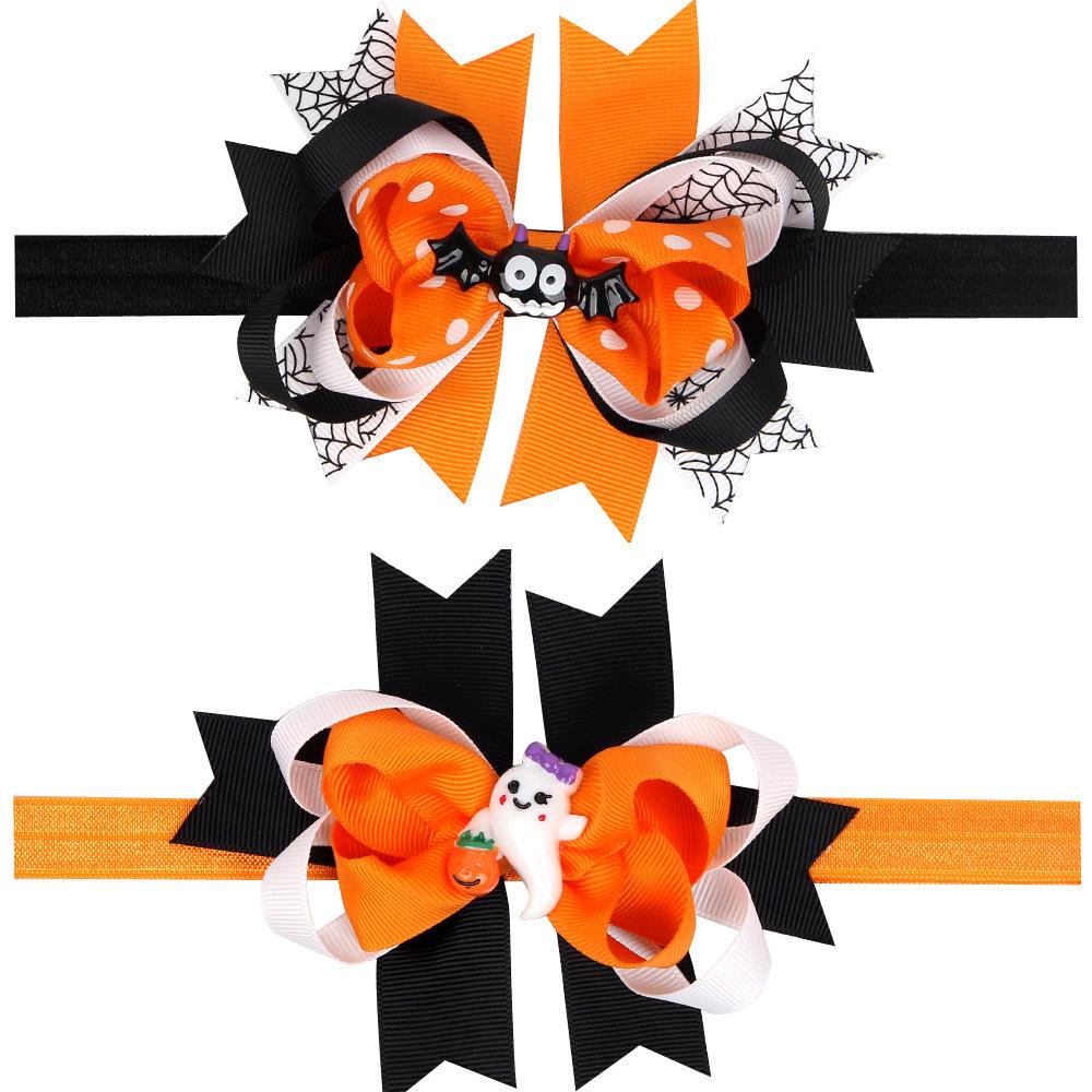 2 Color Halloween Baby Girls Hair Bows Headbands Toddler Infant Bat Ghost Hair Accessories Children Elastic Headwear(China (Mainland))