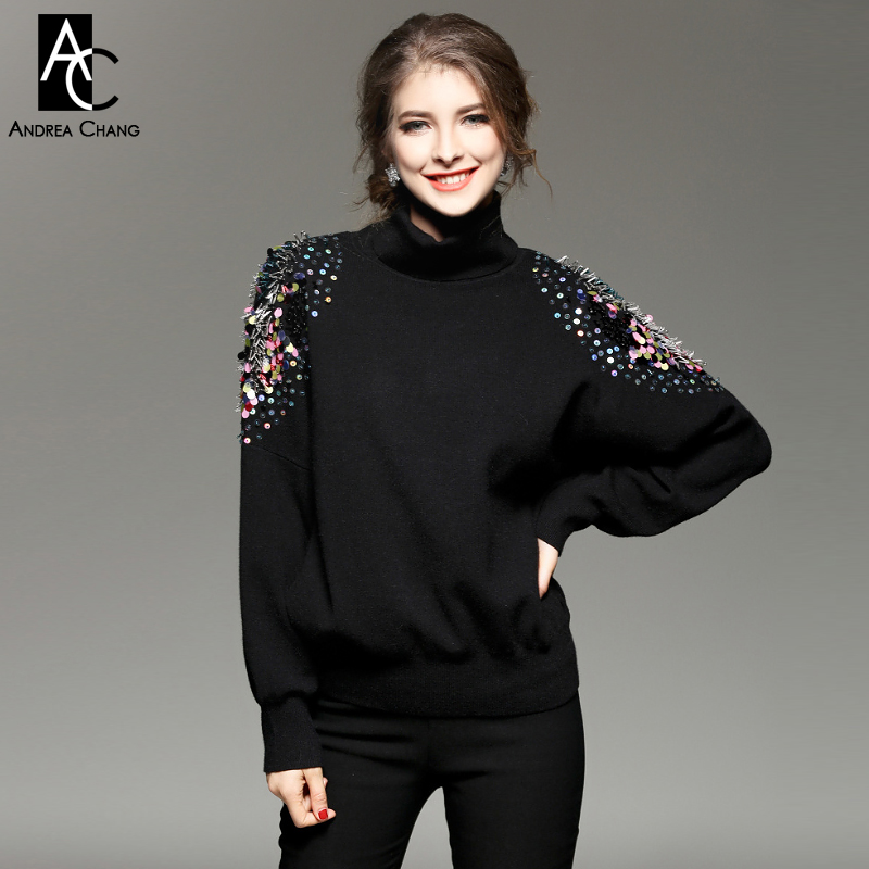 autumn winter runway designer womans sweaters black white red knitted sweater turtleneck colorful beading shoulder cute sweater(China (Mainland))