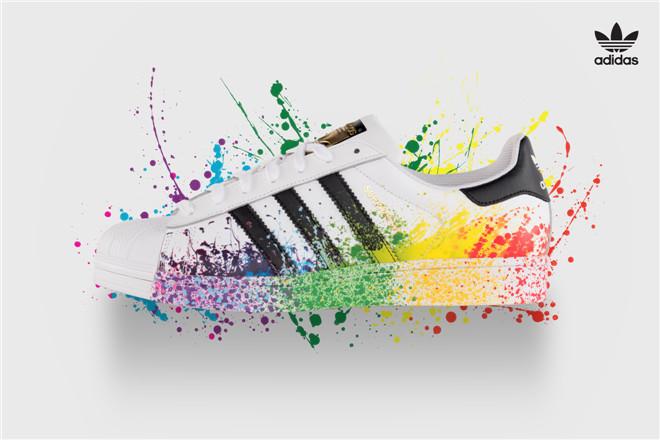 adidas nere arcobaleno