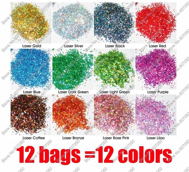 12colors x 50g/color Color Dazzling Holographic Hexagon Glitter Paillette Shape for DIY Nail Art decoration&Glitter Crafts