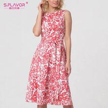S. Saveur sans manches femmes robe d'été couleur rose lumière rétro parti Vestidos De mode femmes décontracté robe d'été(China)