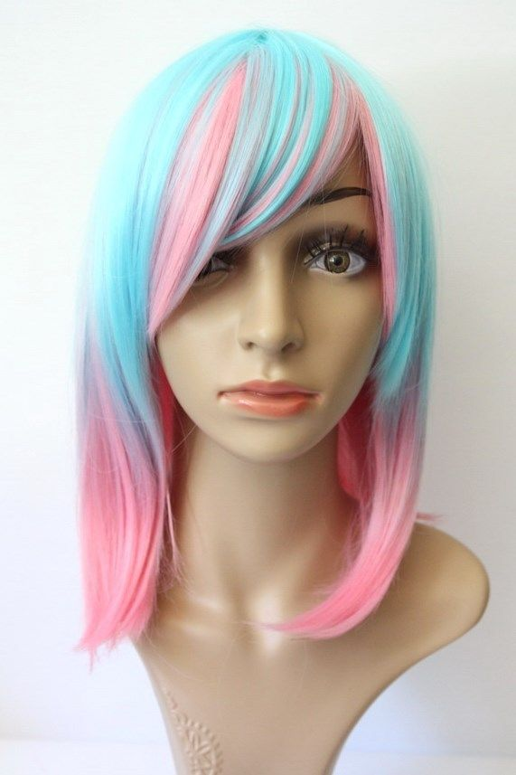 NEW Womens Ombre Bright Wig Anime Halloween Cosplay Costume Pink Blue Party <br><br>Aliexpress