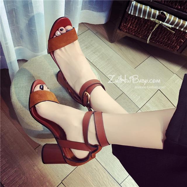 2016 новый женский лодыжки ремень блок каблук сандалии 8 см высокие каблуки летняя ...