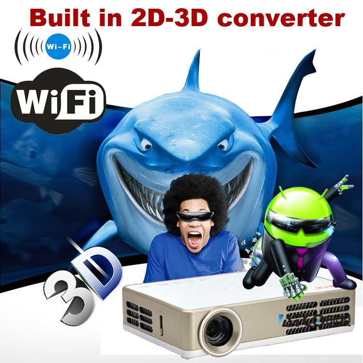 [해외]1080P 안드로이드 4.2.2 와이파이 DLP 셔터 3D HDMI VGA..