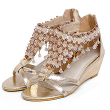 Women summer rome style elegant string beads wedding gold silver glitter pendants peep toe thick wedegs high heels sandals F32(China (Mainland))