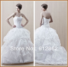 Strapless Sweetheart Ruffled Organza Ball Gown Lace Wedding Dresses Online(China (Mainland))