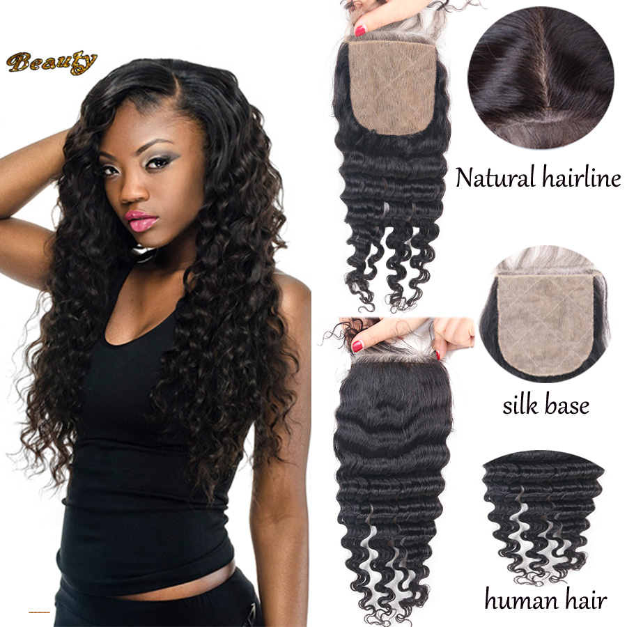 Malaysian Curly Silk Base Closure 4x4 Virgin Human Hair Deep Curly Silk Base Closure Bleached Knots Free Or 3 Part Silk Closures<br><br>Aliexpress