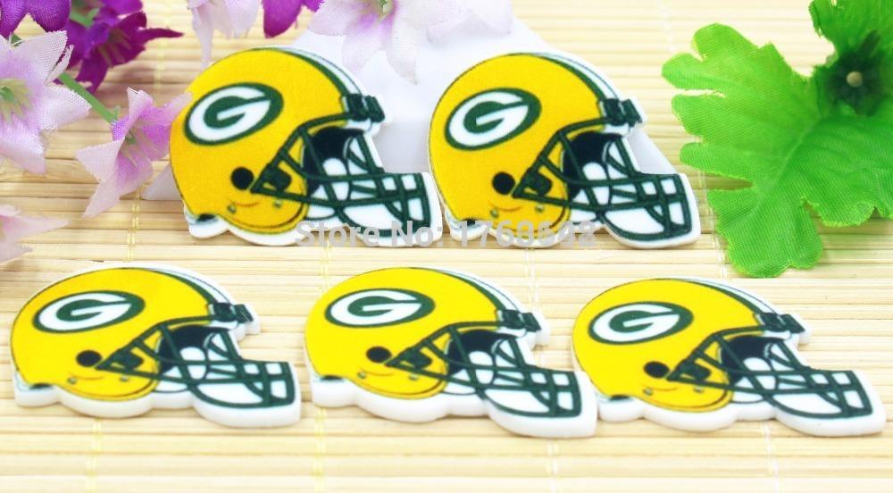 NFL planar Green Bay Packers football helmet Figurine holiday decoration DIY flatback resin hair accessories Resin Crafts(China (Mainland))