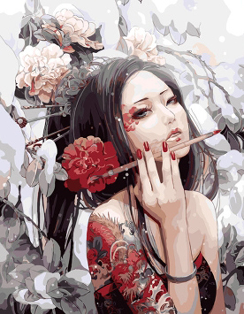 Free shippingFrameless picture DIY diy digital oil painting sassy girl gift 40 50 paint by number kits unique gift hot(China (Mainland))