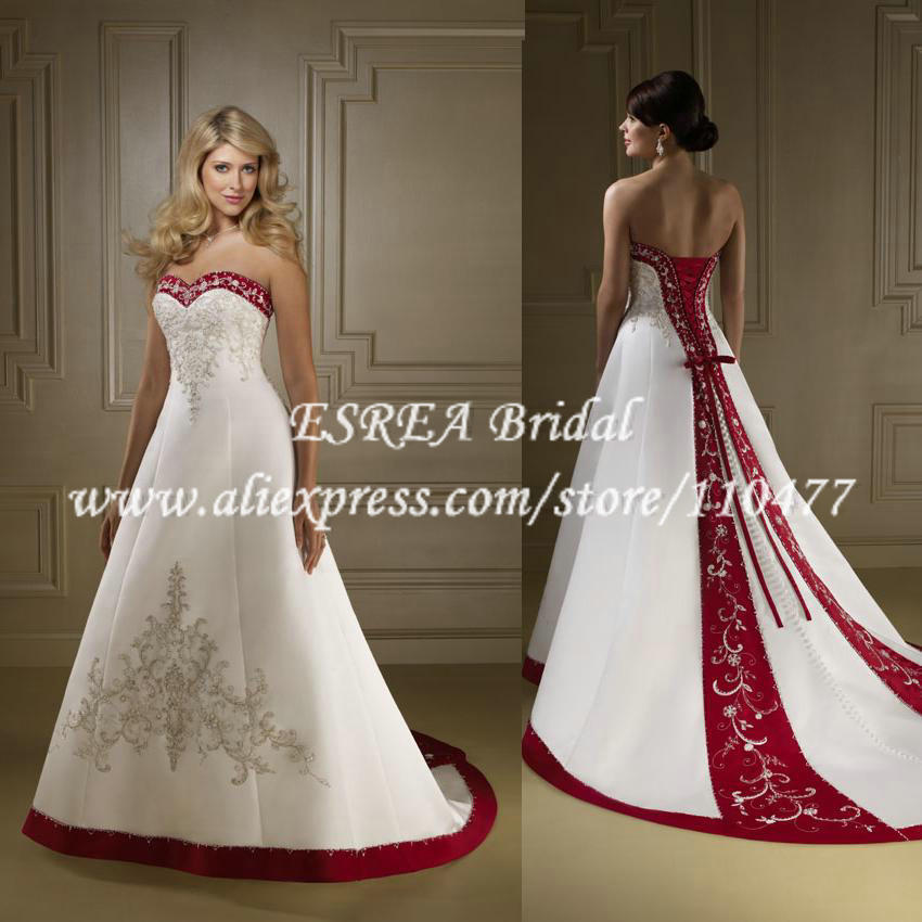 Red And White Wedding Dress Buy : Aliexpress buy designer appliqued sweetheart red and