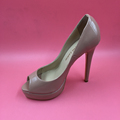 Nude Patent Leather Platform Women Pumps Peep Toe High Heels Ladies Shoes Real Photo Heels Size