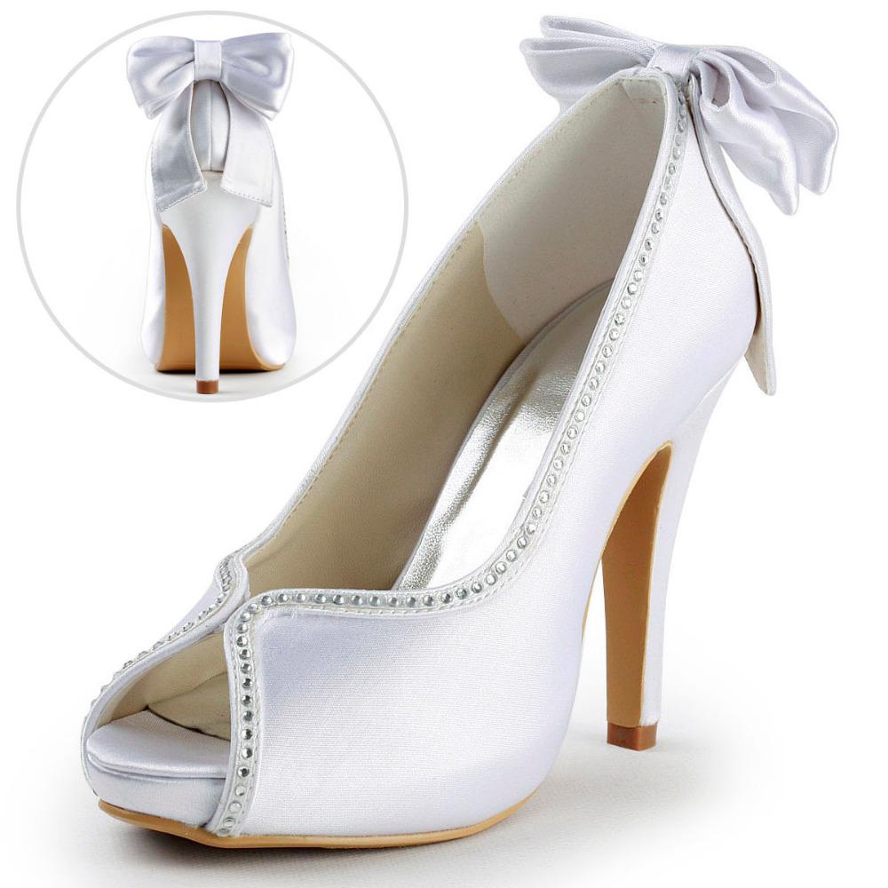 Фотография ElegantPark  EP2048-IP White Ivory Peep Toe Rhinestone Back Bow High Heel Women Shoes  Satin Wedding Bridal Pumps